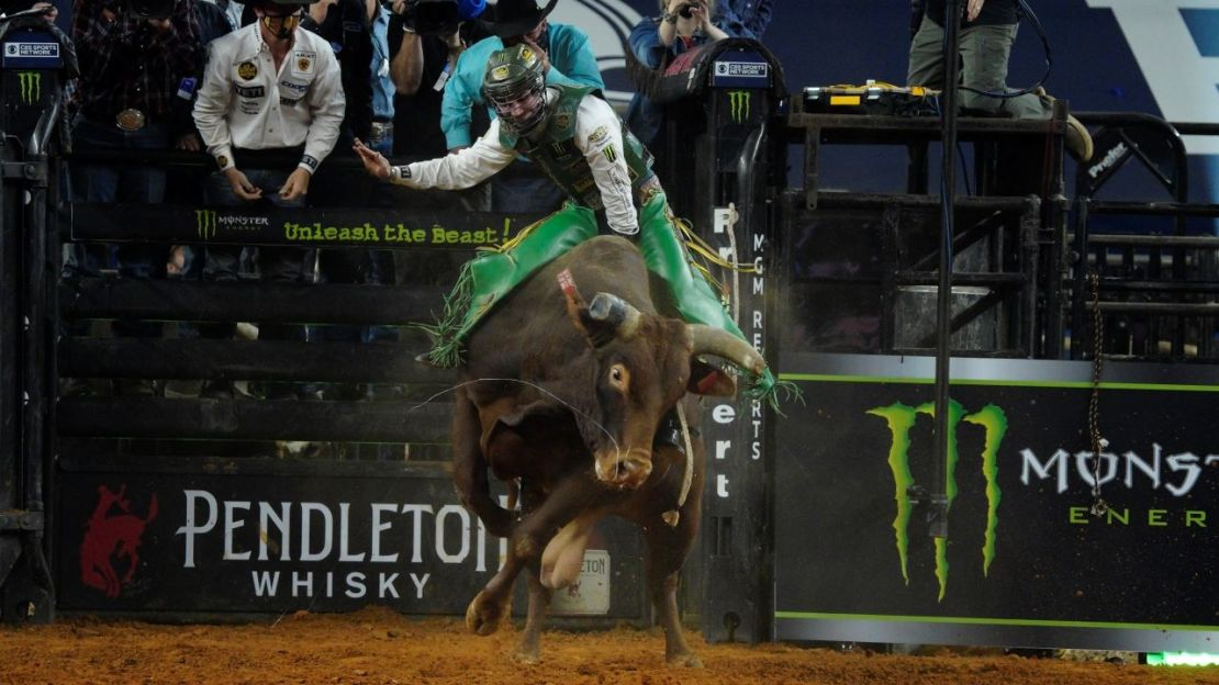 Jess Lockwood, who is ranked No. 5 on the Professional Bull Riders tour, rides Lil 2 Train during the 2020 Professional Bull Riders World Finals: Unleash the Beast event in Arlington, Texas. Photo credit: Melinda Meijer for News4usonline