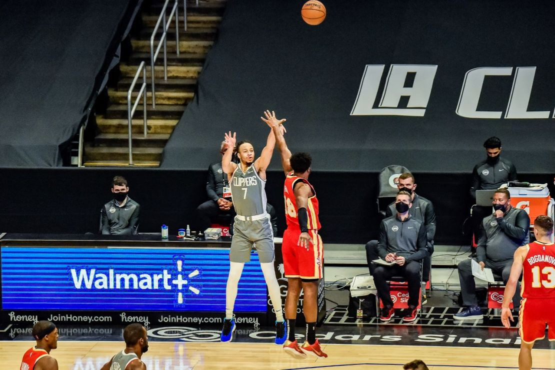 Amir Coffey (7) launches up a shot against the Atlanta Hawks in the Los Angeles Clippers' 119-110 comeback win at STAPLES Center on March 20, 20221. Photo credit: Mark Hammond/News4usonline