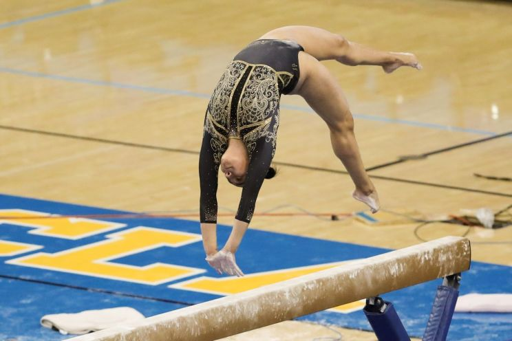 UCLA freshman gymnast Frida Esparza performing on the balance beam during a meet earlier this year. Before competing for the Bruins, Esparza won the all-around title at the Mexican National Championships and performed at the 2018 and 2019 world championships. Photo credit: UCLA Athletics