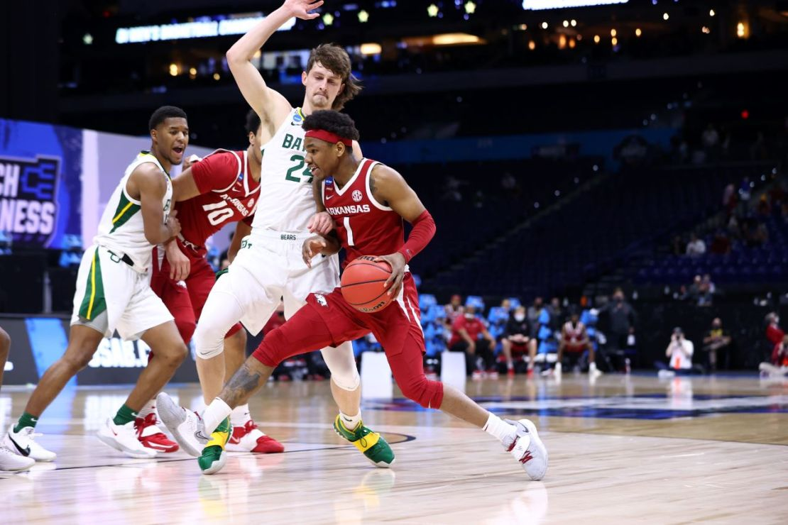 INDIANAPOLIS, IN - MARCH 29: The Arkansas Razorbacks take on the Baylor Bears in the Elite Eight round of the 2021 NCAA Division I Men's Basketball Tournament held at Lucas Oil Stadium on March 29, 2021 in Indianapolis, Indiana. (Photo by Jamie Schwaberow/NCAA Photos via Getty Images)