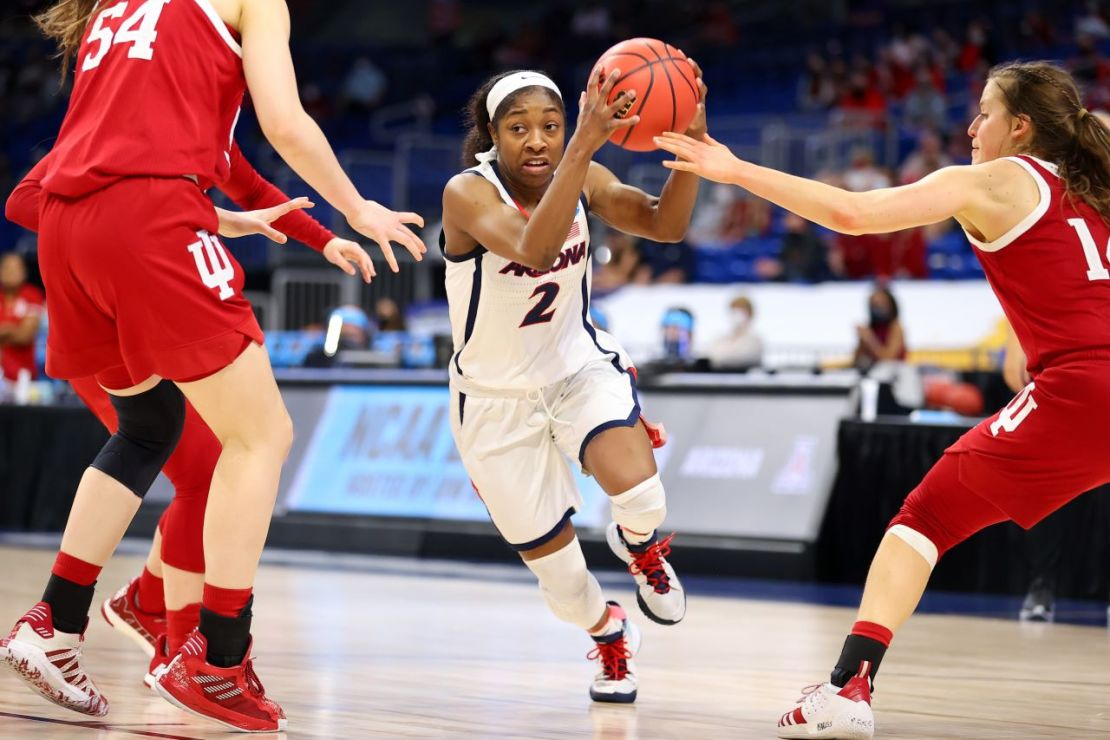 SAN ANTONIO, TX - MARCH 29: Arizona takes on Indiana in the Elite Eight round of the NCAA Women's Basketball Tournament at Alamodome on March 29, 2021 in San Antonio, Texas. (Photo by Justin Tafoya/NCAA Photos via Getty Images)