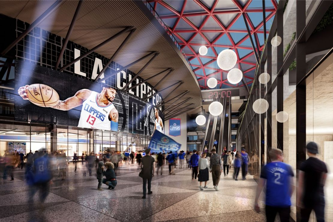Rendering of the main lobby of the Intuit Dome. Photo courtesy Los Angeles Clippers
