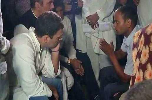 गोरखपुर में पीड़ितों से मिले राहुल गांधी, किया ये बड़ा एेलान