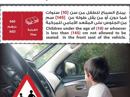 Children under 10 should not sit in front seats: Ajman Police