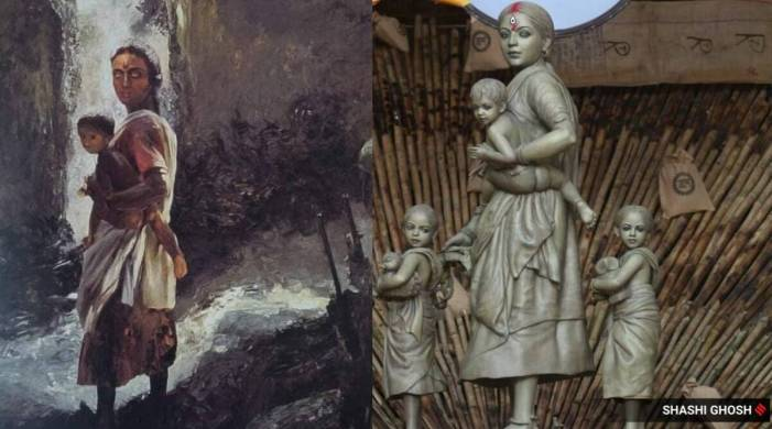 Kolkata puja pandal's migrant worker idol bears resemblance to this 1989 painting