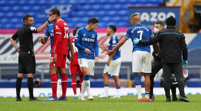 Liverpool denied by VAR in derby draw with ten-men Everton