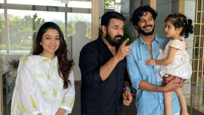 Mohanlal's priceless photo with Dulquer Salmaan, Amaal and daughter Maryam will make you smile instantly