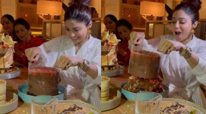 Shilpa Shetty treats Shamita to latest viral cake trend on her birthday; watch video
