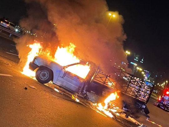 Three injured after car catches fire in Dubai