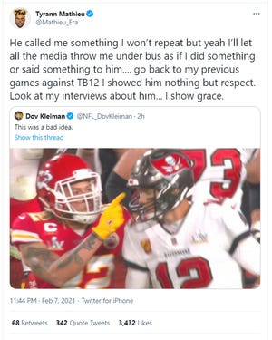 Tyrann Mathieu, in since-deleted tweet, says Tom Brady 'called me something I won't repeat'