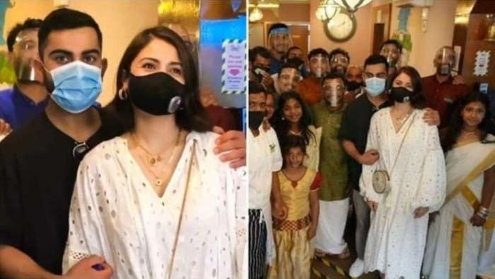 Anushka Sharma-Virat Kohli visit Indian restaurant in Leeds, celebrate Onam and pose with staff for pictures