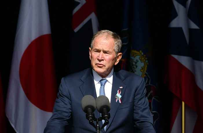 Former President Bush likens U.S. extremists to foreign terrorists