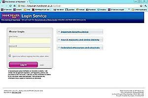 secure log-in screen