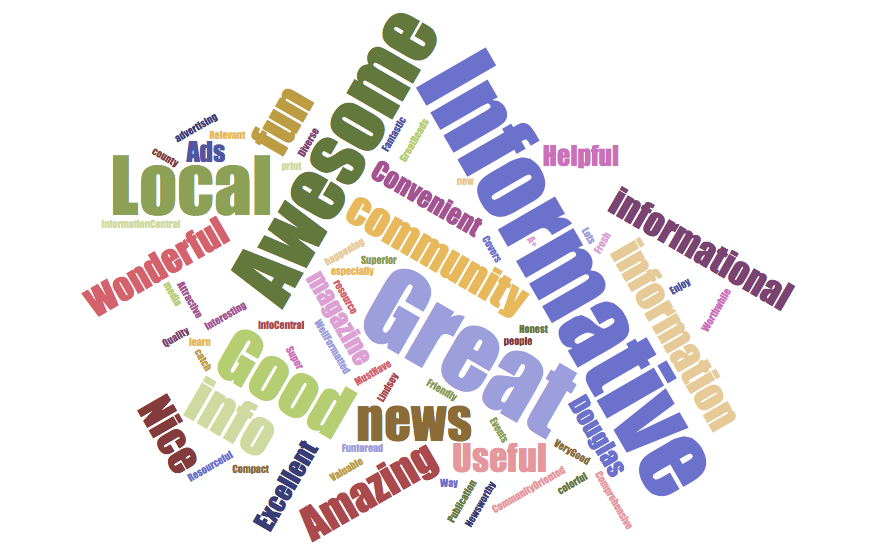 Word Cloud one word description of Chapel Hill News & Views
