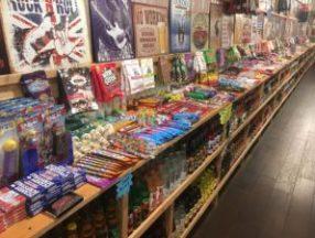 RocketFizz sodas, candy, and T-shirts