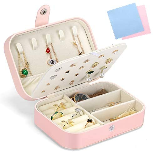 Gozlu Jewellery Box Organizer, Premium PU Leather Jewellery Storage Case for Girls Womens, With Necklace Hook, Stud Earring Plate, Ring Storage Slot and Adjustable Storage Compartment, Pink