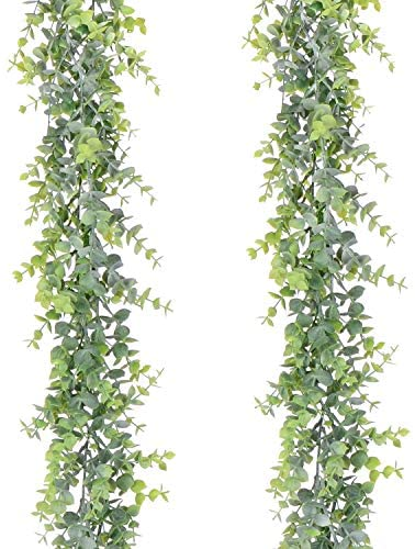 YQing 2 Pcs Artificial Eucalyptus Garland Faux Eucalyptus Leaves Vines Handmade Plastic Garland Greenery Hanging Plant Wedding Arch Wall Table Party Decor