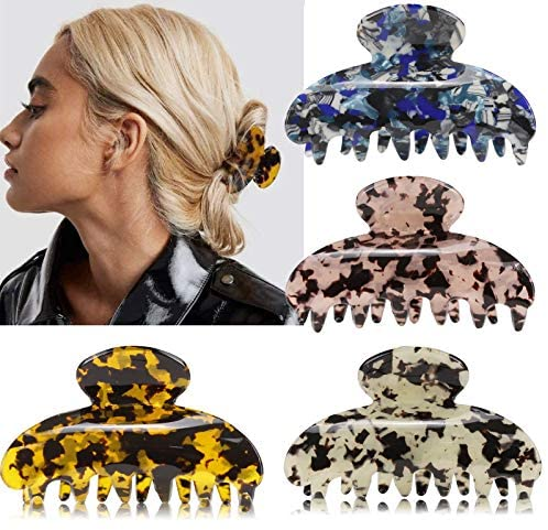 4PCS Hair Claw Clips for Women, 3.2 Inch Banana Clips Cellulose Acetate Jaw Clip, tortoise Barrettes Celluloid New French Design Leopard print Fashion Accessories for Women Girls