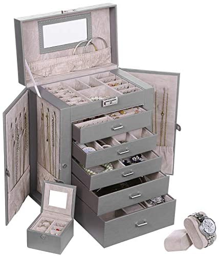 ANWBROAD 6 Tier Huge Jewelry Box Jewelry Organizer Box Display Storage Case Holder with Lock Mirror Girls Jewelry Box for Earrings Rings Necklaces Bracelets Gift Faux Leather JJB004