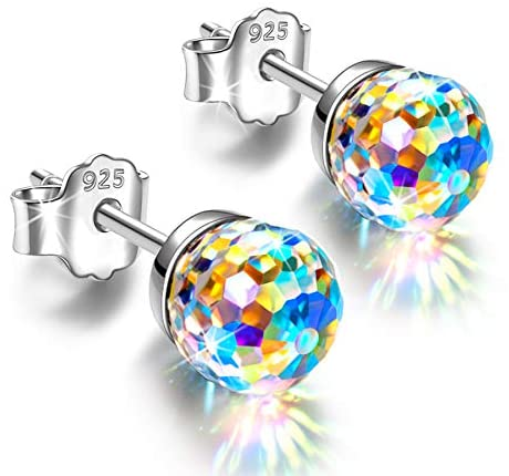 Alex Perry Earrings Gifts for Women, Fantastic World Series Stud Earrings Presents for Girls, 925 Sterling Silver, 6-8mm Crystals from Austria, Valentine's Mothers Day Birthday Gifts for Her Mom