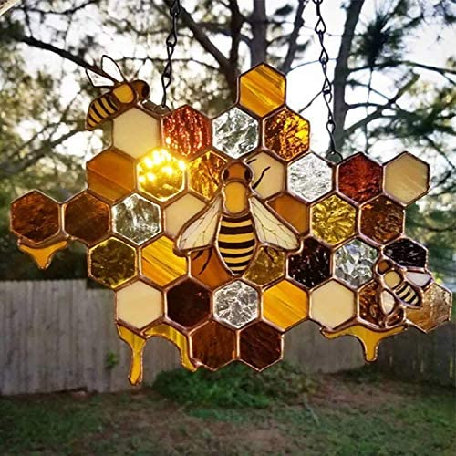 Bees Day Sign Decor Queen&Bee Protect Honey Sun Catcher Hanging Window Bee Ornament Handmade Wall Art Home Decoration Gift For Girlfriend Mother (2PCS)