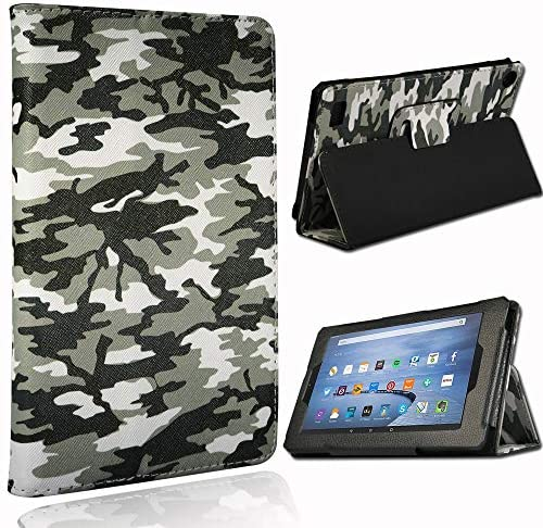 "FINDING CASE Folio Leather Smart Folding Stand Cover Case For Amazon Fire 7"" Alexa, 7 inch Tablet (9th 7th 5th Generation,2019 2017 2015 Release) Camouflage"