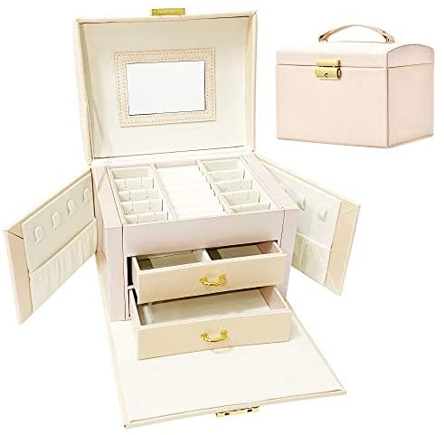 IEEDYYE Mini Jewellery Box Organiser for Women, 3 Layers PU Leather Jewelry Storage Case Gift with Lock and Mirror, Portable Travel Case for Rings, Bracelets, Earrings, Necklaces, Bracelets