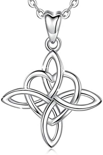 INFUSEU Love Celtic knot Necklace, 925 Sterling Silver Irish Infinity Endless Love Pendant Heart Jewellery with Chain 18″ Charm for women