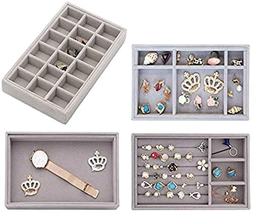 Kitchenmore Jewellery Tray, Stackable Jewelry Drawer Organiser Earring Storage Display Box, Grey(1 Set)