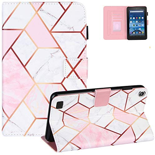 Marble Case for Kindle Fire 7 Inch Tablet(9th/7th/5th Gen, 2019/2017/2015), UGOcase PU Leather Fold Protective Case Auto Sleep Wake Wallet Cover for Amazon Kindle Fire 7″ 2019 2017 2015 – Pink White