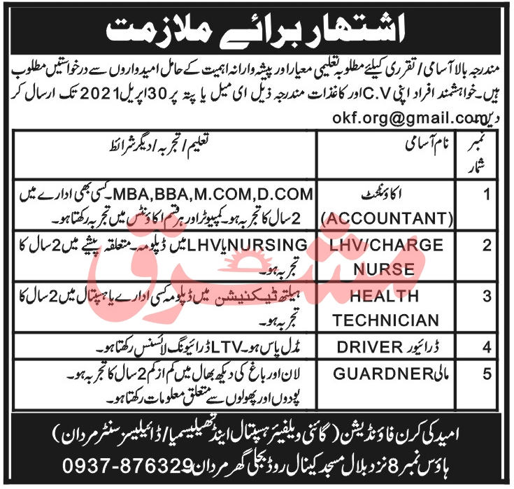 Omeed Ki Kiran Foundation Jobs 2021 in Mardan