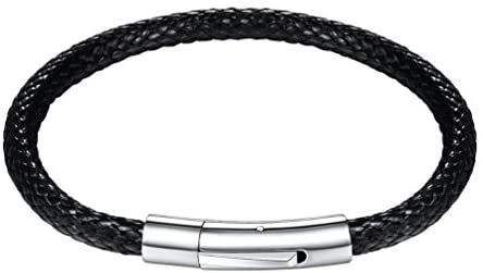 PROSTEEL Can Custom, Men Waterproof Wax Rope Braided Leather Bracelet with Clasp 316L Stainless Steel, 18/20/22CM, Black/Brown (with Gift Box)