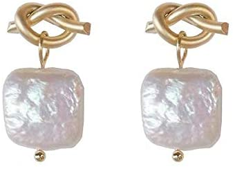 Pearls of Eden – Womans Brass Earrings with Square Pearl – Real Freshwater pearls – Modern Design – Elegant Jewelry Box Included