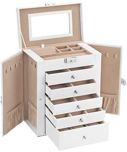 SONGMICS Large Jewellery Box, 6-Tier Jewellery Case with Side Wings, Drawers, Mirror and Clasp, for Bracelets Earrings Rings Necklaces Watches, Gift Idea, White JBC152W01
