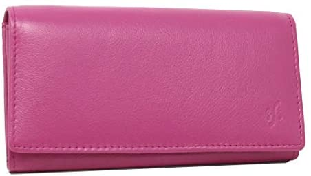 STARHIDE Ladies Soft Genuine Leather Flap Over Purse Multi Credit Card Slots 5510 (Fuschia)