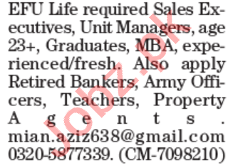 Sales Executive & Unit Manager Jobs 2021 in Lahore 2021 Job Advertisement Pakistan