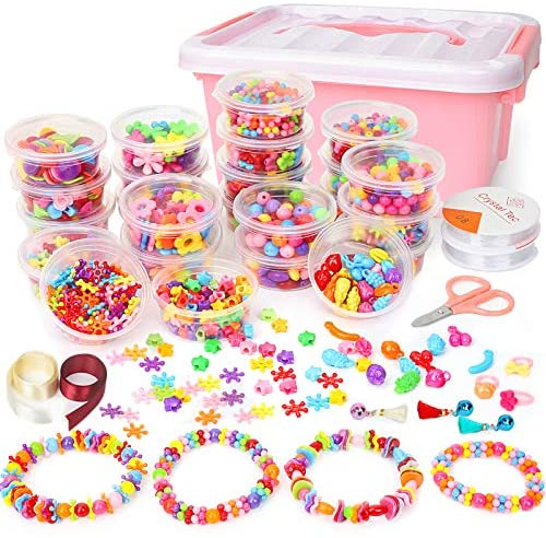 Sanlebi 2000PCS Kids Beads Set, DIY Beads Kit for Jewellery Making Bracelet, Necklace, Hairband with Storage Box Bead Craft Set for Children Toddlers