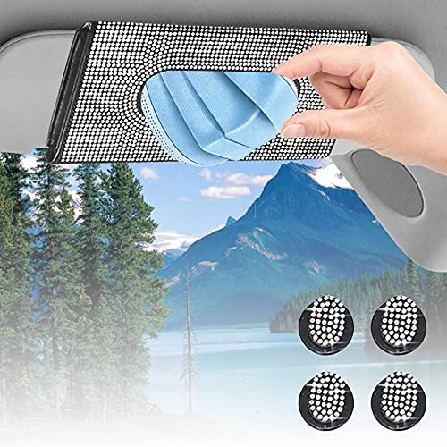 Tissue Holder for Car Visor,Car Visor Mask Holder for Sun Visor Sparkly Bling Crystals Leather Storage Box Case with 4 Sparkling Glitter Mask Hook Clip, Car Accessories for Women