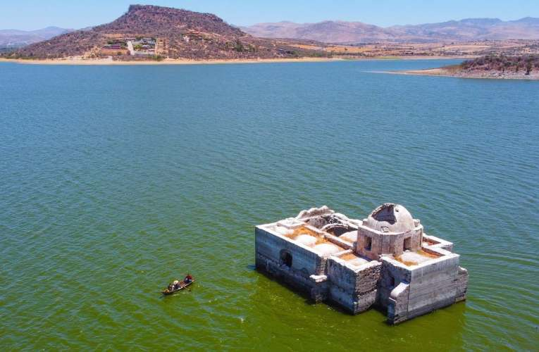 Historic Mexican church emerges from lake as drought ravages country