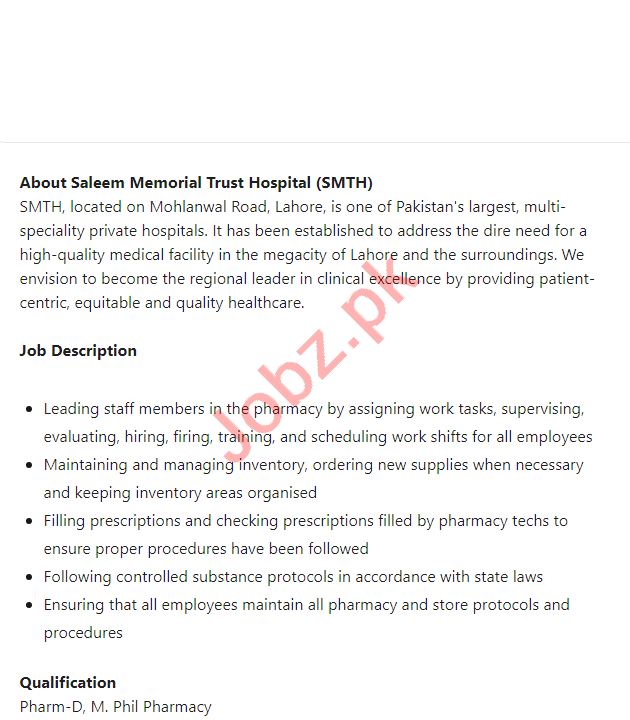 Saleem Memorial Trust Hospital Lahore Jobs 2021 for Manager
