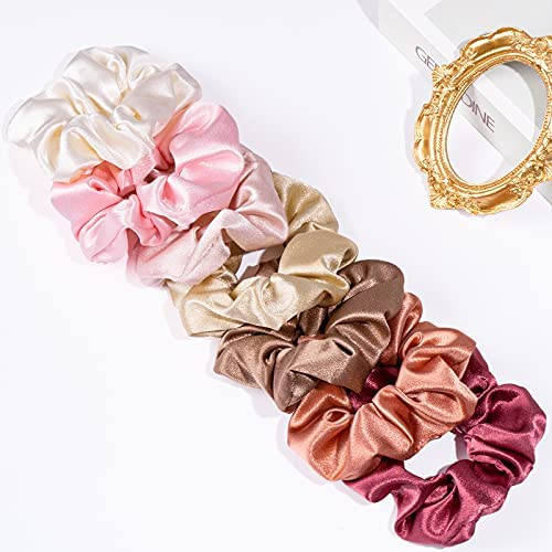 Whaline 7 Colors Hair Scrunchies Blush Theme Elastic Hair Tie Bands Silk Satin Large Hair Bands Colorful Ponytail Holder Ropes Hair Accessories for Women Girl Thick Thin Hair