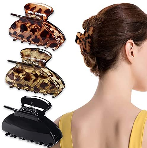 3 Pack Hair Claw Clips, 3.5 Inch Non-slip Ponytail Holder Medium Leopard Celluloid Tortoise Barrettes Claw Clip French Style Accessories for Women Girls Thin Thick Hair