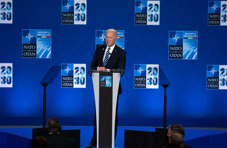 Biden, on a global stage, has harsh words on Trump.