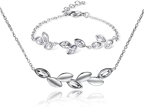 Classic Leaves Necklace and Bracelet Jewelry Set for Girls