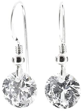 pewterhooter® petite 925 Sterling Silver drop earrings for women made with sparkling AAA Cubic Zirconia crystal. Gift box. Made in the UK. Hypoallergenic & Nickle Free for Sensitive Ears.
