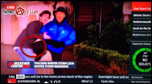 Jim Cantore Knees College Student In The Groin