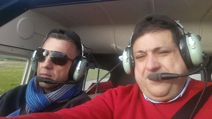 Nuno Castamheira e José Borga, da esquerda para a direita, os dois ocupantes da aeronave sinistrada.