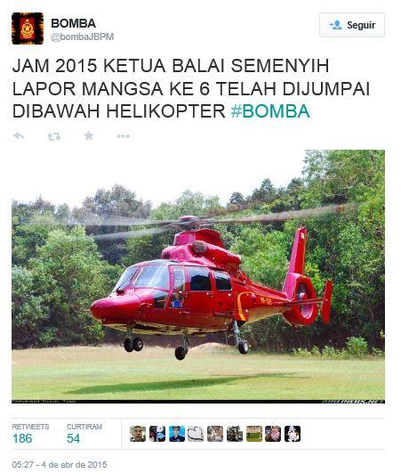 O helicóptero acidentado focado numa conta de Twitter. logo após o acidente.