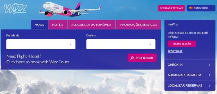 WizzAir site portugues 900px