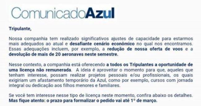 AZUL Comunicado tripulantes fev2016